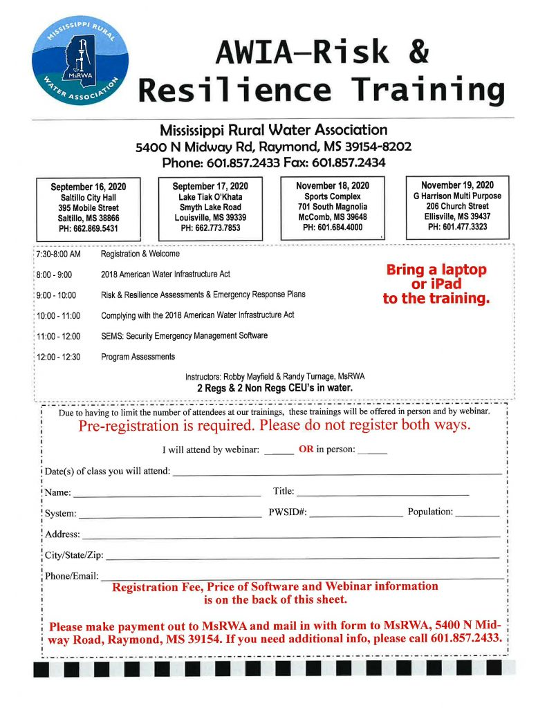 AWIA Risk & Resilience Training @ McComb Sports Complex